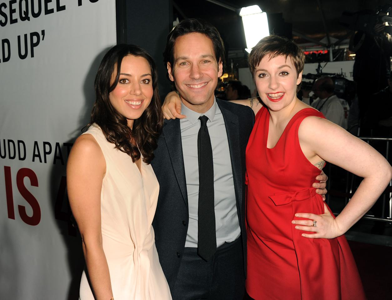 "HOLLYWOOD, CA - DECEMBER 12:  Actors Aubrey Plaza, Paul Rudd and Lena Dunham attend the Premiere Of Universal Pictures' ""This Is 40"" at Grauman's Chinese Theatre on December 12, 2012 in Hollywood, California.  (Photo by Kevin Winter/Getty Images)"
