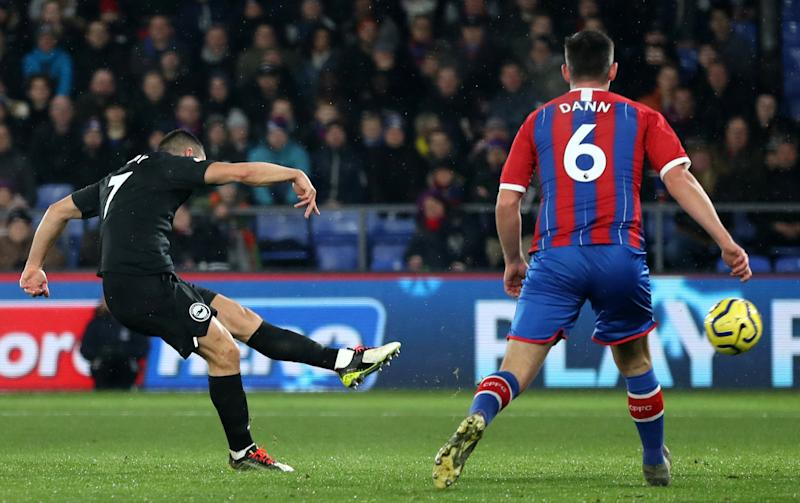 Maupay hammers the ball home. (EMPICS/PA Images via Getty Image)