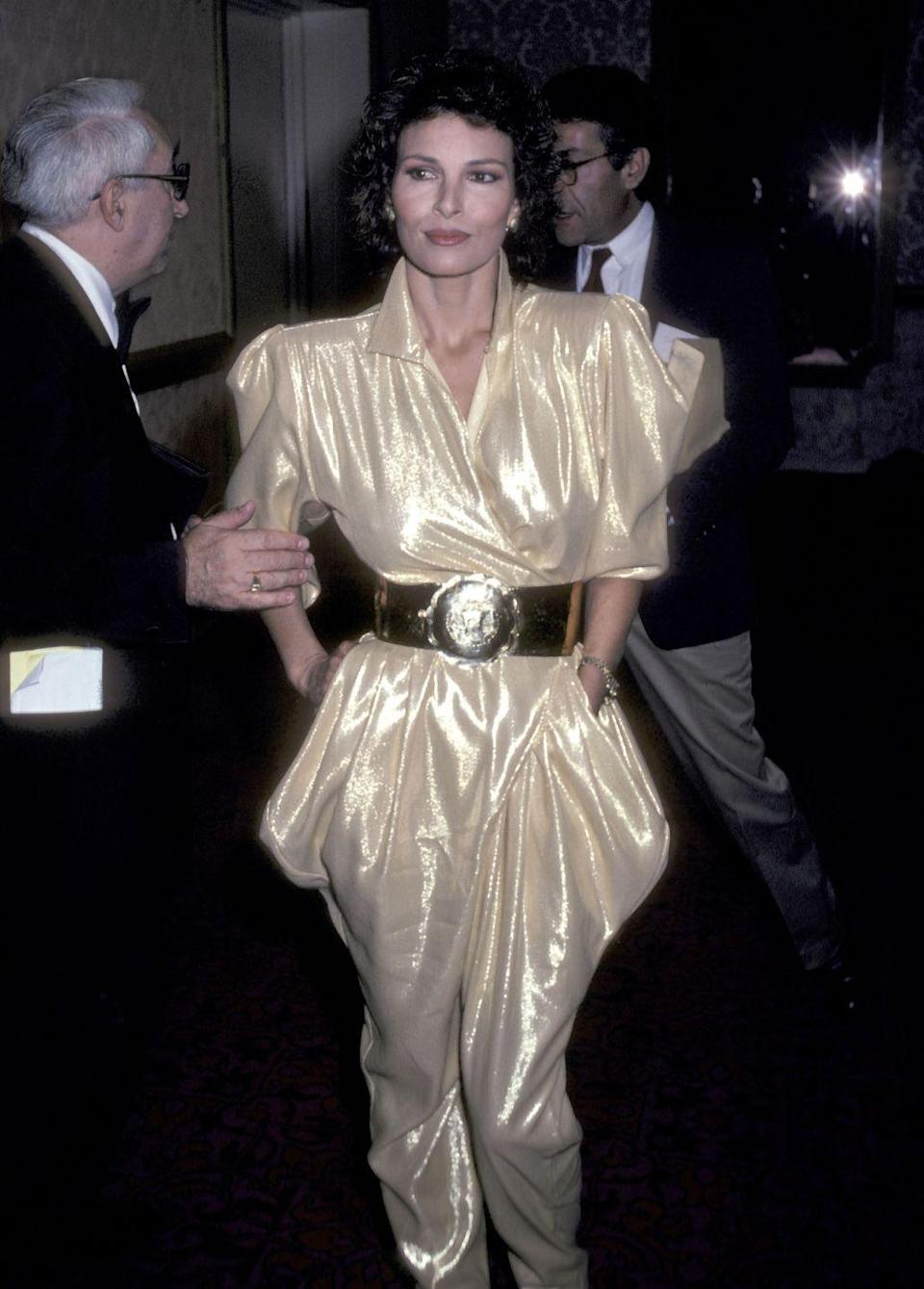 <p>The actress made a statement in the gold jumpsuit she wore in 1981. </p>