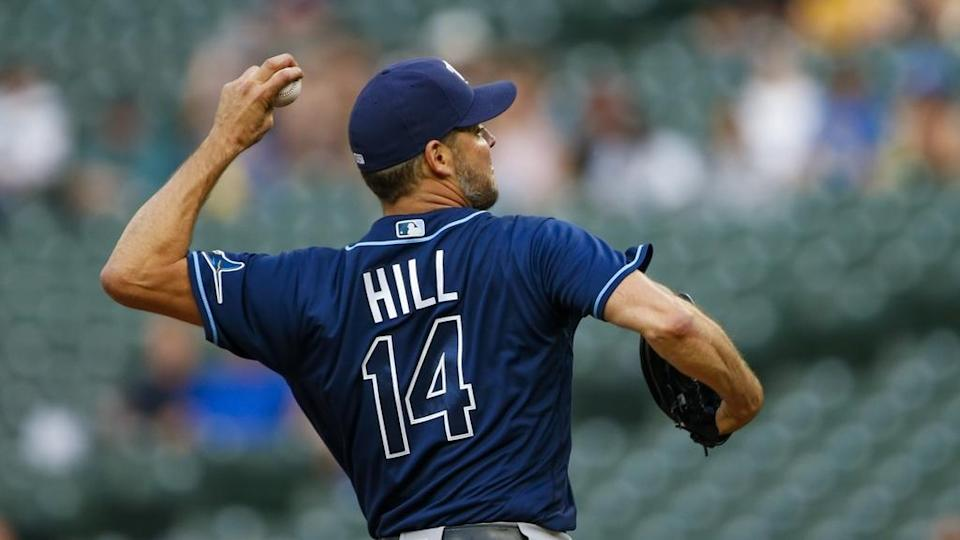Rich Hill back of Rays jersey