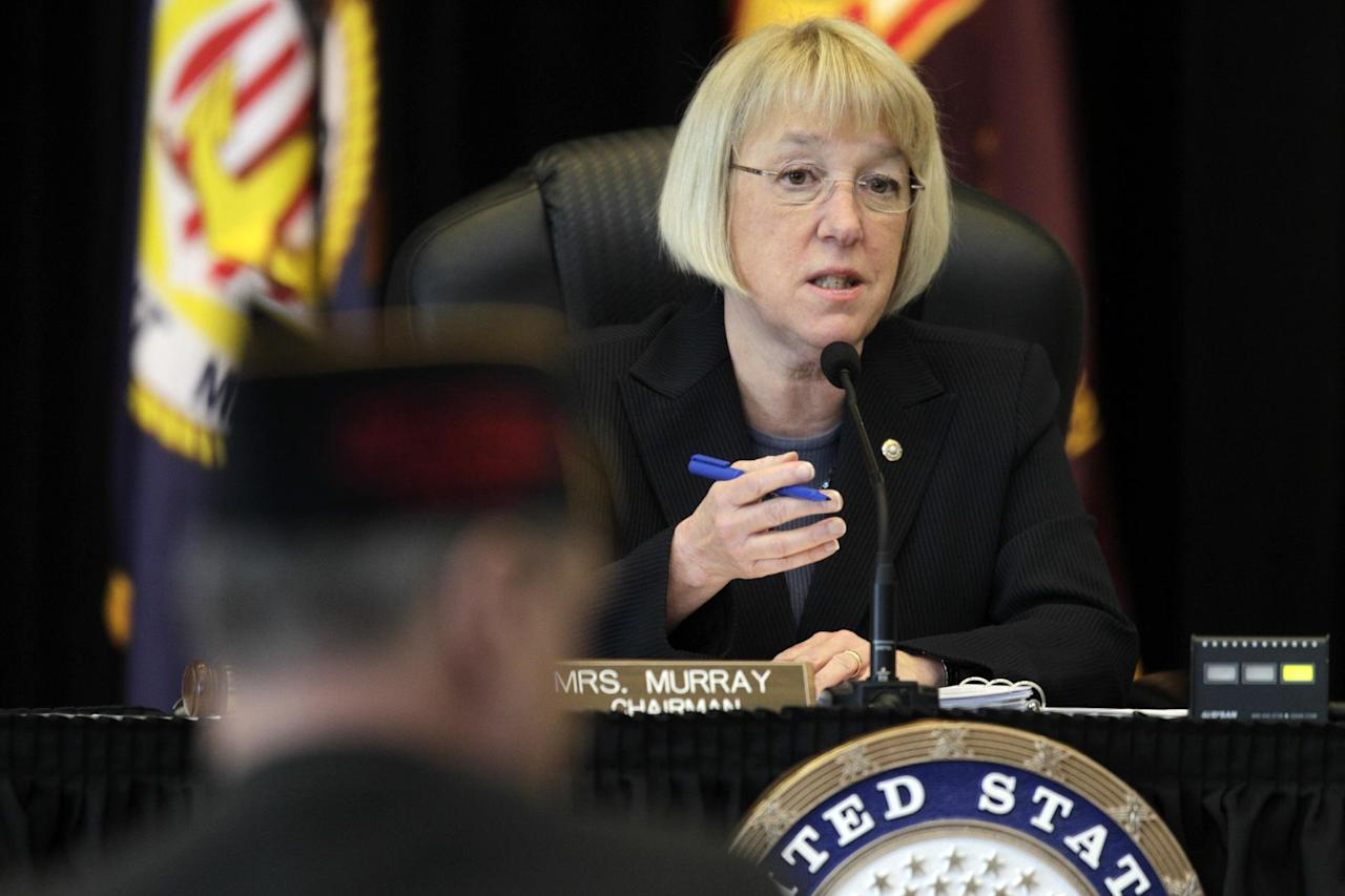 "FILE - In this April 4, 2012, file photo, Sen. Patty Murray, D-Wash., speaks at a field hearing of the Senate Veterans' Affairs Committee, which she chairs, in Tacoma, Wash. During the hearing Murray sharply questioned military and Veterans' Affairs officials over concerns that cost has been a factor in reversing diagnoses of soldiers found to suffer from post-traumatic stress disorder. Murray said Wednesday, April 25, 2012, during a hearing in Washington that VA care providers are delaying follow-up appointments with mental health patients because their schedules are too full. She complained the department has been slow to tackle the problem. ""VA is failing to meet its own mandates for timeliness, and instead is finding ways to make the data look like they're complying,"" said Murray. (AP Photo/Ted S. Warren, File)"
