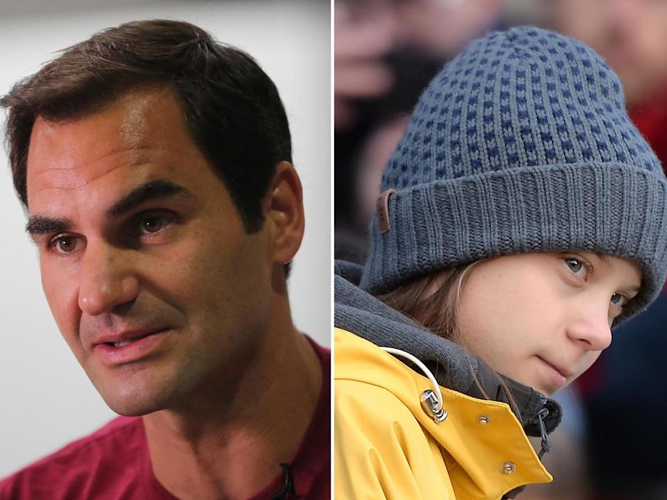 Roger Federer is under pressure from campaigners including Greta Thunberg: Getty