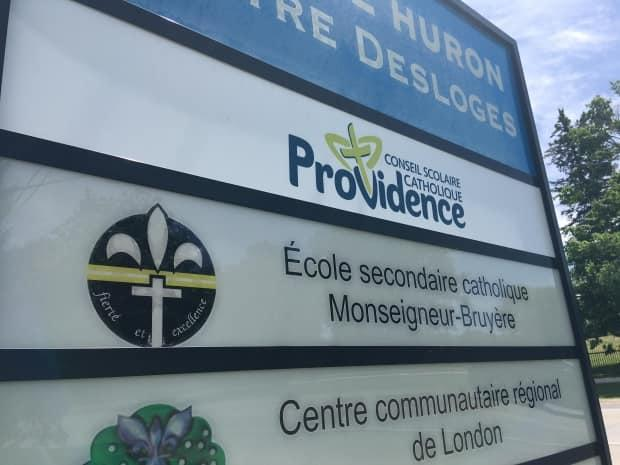 The Conseil scolaire catholique Providence announced Friday that Luc Chartrand has been removed as principal of Monseigneur-Bruyère high school in London, Ont., after a video surfaced of him wearing a Black student's hair as if it were a wig in a 2019 incident.  (Andrew Lupton/CBC  - image credit)
