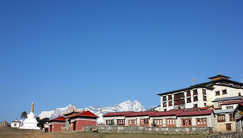The Monastery at Tengboche: Tengboche is the next stop on the trek and it has the biggest monastery on the route. If you read books on the Everest expeditions, most books mention seeking blessings from the lama at this monastery! And the climb to Tengboche is quite steep.