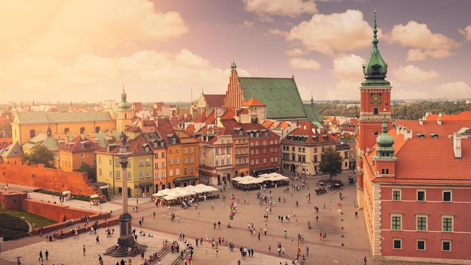 View over the Schlossplatz in Warsaw's old town.