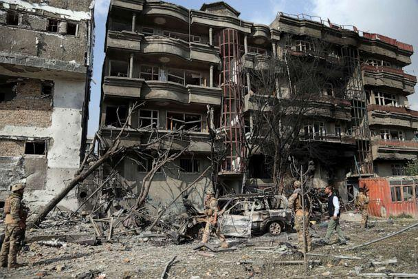 PHOTO: Afghan security forces inspect the aftermath of Sunday's attack in Kabul, Afghanistan, Monday, July 29, 2019. (Rahmat Gul/AP Photo)