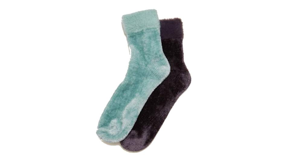2-Pack Velvet Ankle High Socks