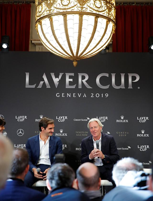 Switzerland's Roger Federer sits beside as Bjorn Borg of Sweden (R) addresses a news conference to promote the Laver Cup tennis tournament in Geneva, Switzerland February 8, 2019. REUTERS/Arnd Wiegmann