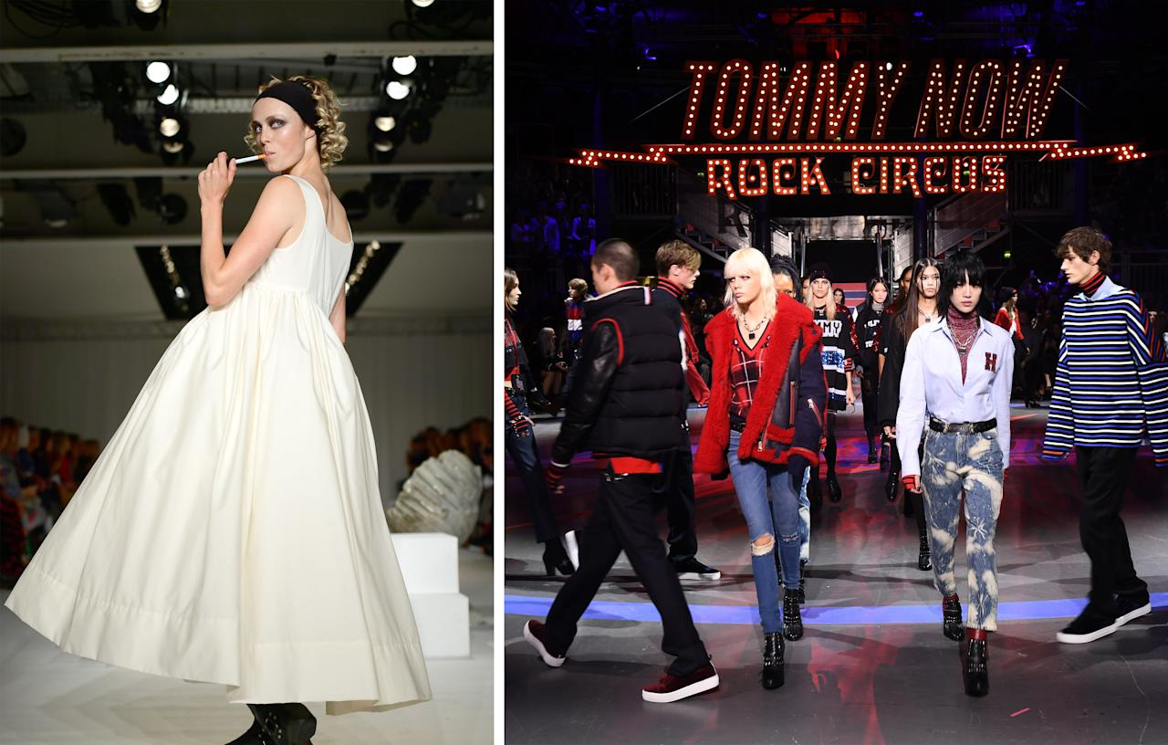 <p>At Molly Goddard, models were expected to drink wine, smoke cigarettes (or at least pretend to) and twirl down the catwalk while Tommy Hilfiger and Gigi Hadid's show saw models trying really hard not to bump into each other on the criss-cross circular catwalk.<br /><i>[Photo: Getty]</i> </p>