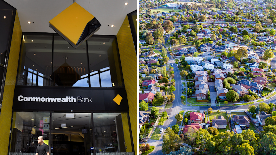 The exterior of a CBA branch and an aerial view of an Australian suburb.