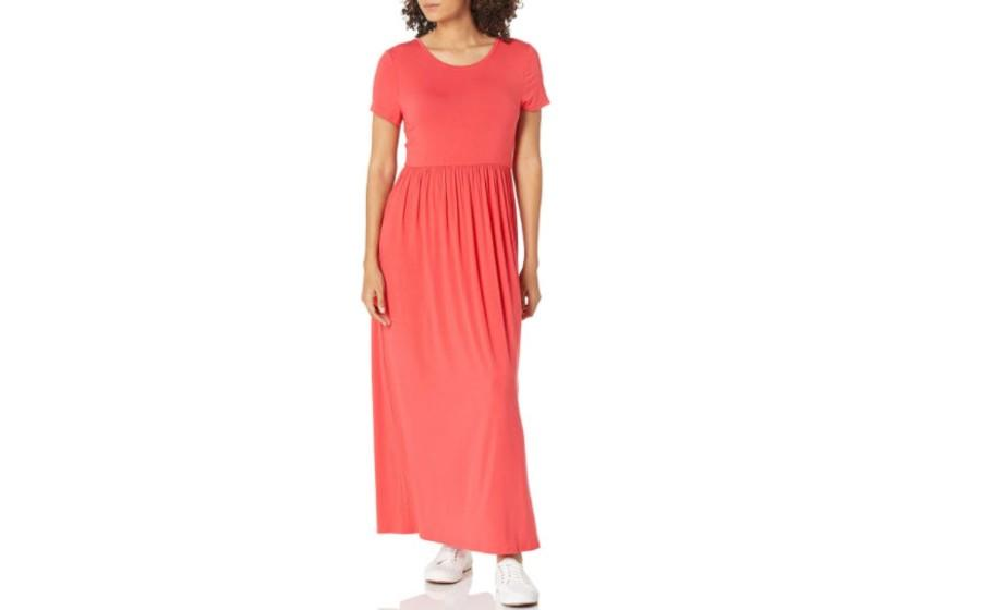 Amazon Essentials Women's Short-Sleeve Waisted Maxi Dress in red coral. (Image via Amazon)