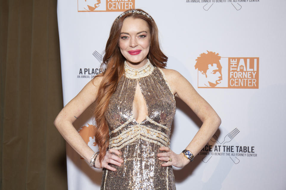 NEW YORK, NEW YORK - OCTOBER 25: Lindsay Lohan attends the 2019 Ali Forney Center Gala at Cipriani Wall Street on October 25, 2019 in New York City. (Photo by Santiago Felipe/Getty Images)