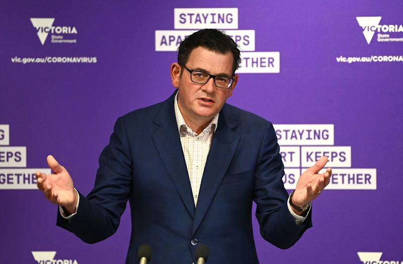 Victorian Premier Daniel Andrews looks on whilst speaking to the media on August 17, 2020 in Melbourne.