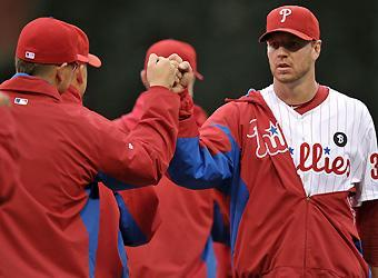 Game 5 starter Roy Halladay recovered from a slow start to retire 21 straight batters in the Phillies' Game 1 win