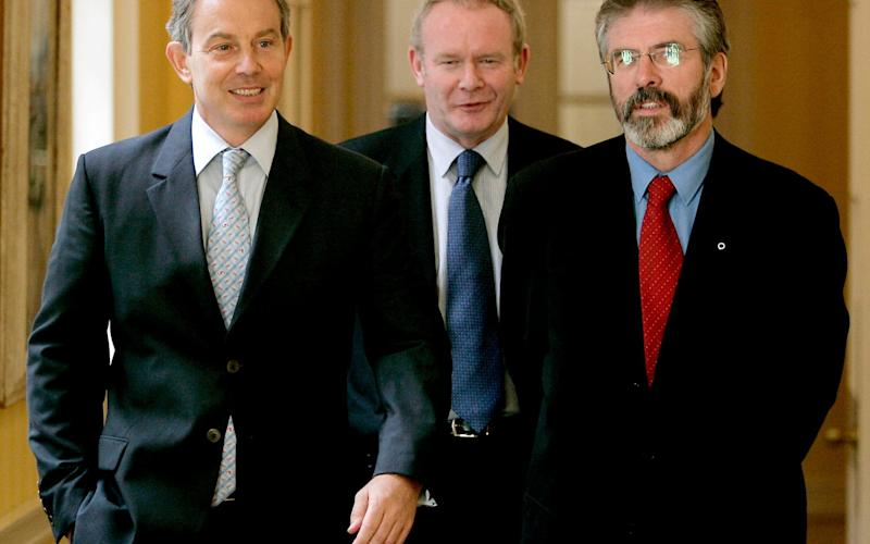 Tony Blair inside 10 Downing Street with Sinn Fein's Gerry Adams and Martin McGuinness in 2005 - Credit: REUTERS/Mike Finn-Kelcey