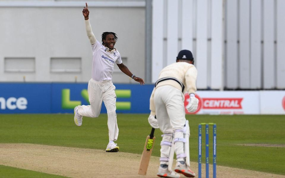 Jofra Archer of Sussex celebrates prematurely as an lbw appeal against Nathan Gilchrist of Kent is turned down during the LV= Insurance County Championship match between Sussex and Kent at The 1st Central County Ground on May 13, 2021 in Hove, England. - GETTY IMAGES