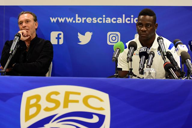 "Brescia president Massimo Cellino used Mario Barotelli's race to make what he called a ""joke"" about the player's absence in a match. (Pier Marco Tacca/Getty Images)"