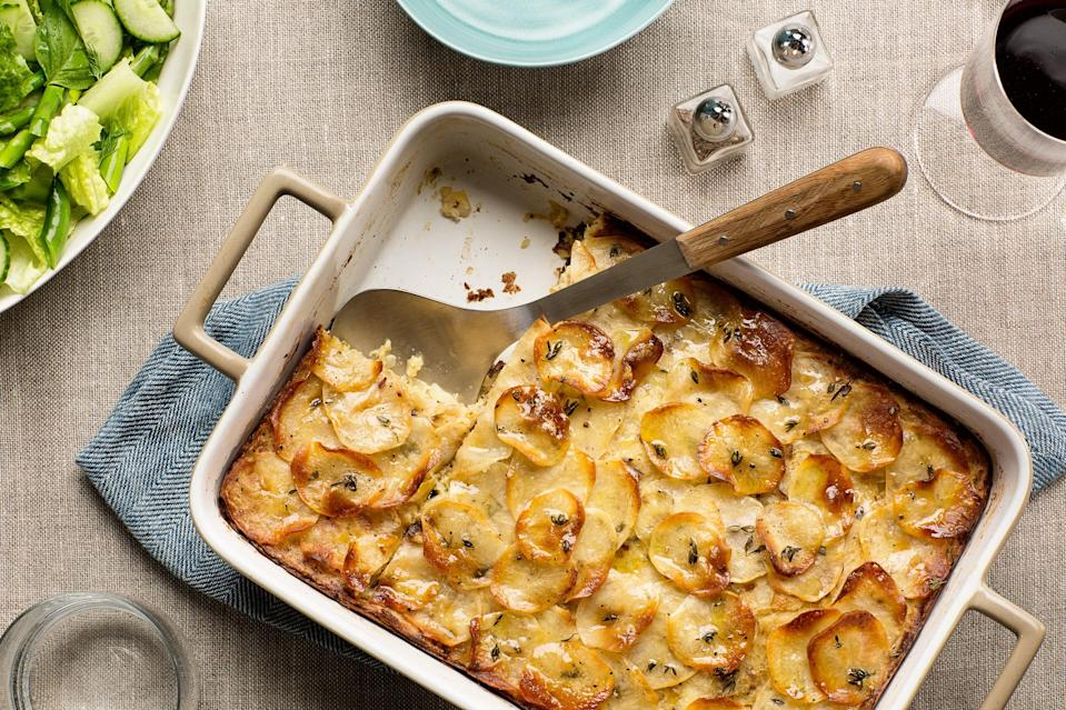 """If you think about it, kugel is basically a giant tater tot. With the addition of leeks, this one really gives you a reason to celebrate. <a href=""""https://www.epicurious.com/recipes/food/views/crispy-potato-leek-kugel-56389339?mbid=synd_yahoo_rss"""" rel=""""nofollow noopener"""" target=""""_blank"""" data-ylk=""""slk:See recipe."""" class=""""link rapid-noclick-resp"""">See recipe.</a>"""