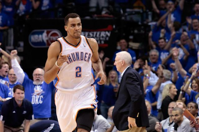 OKLAHOMA CITY, OK - MAY 31: Thabo Sefolosha #2 of the Oklahoma City Thunder reacts in the second half while taking on the San Antonio Spurs in Game Five of the Western Conference Finals of the 2012 NBA Playoffs at Chesapeake Energy Arena on May 31, 2012 in Oklahoma City, Oklahoma. NOTE TO USER: User expressly acknowledges and agrees that, by downloading and or using this photograph, User is consenting to the terms and conditions of the Getty Images License Agreement. (Photo by Brett Deering/Getty Images)