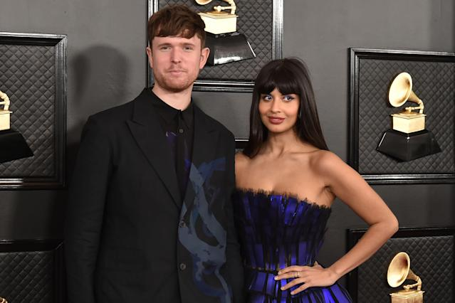 James Blake and Jameela Jamil attend the 62nd Annual Grammy Awards at Staples Center on January 26, 2020 in Los Angeles, CA. (Photo by David Crotty/Patrick McMullan via Getty Images)