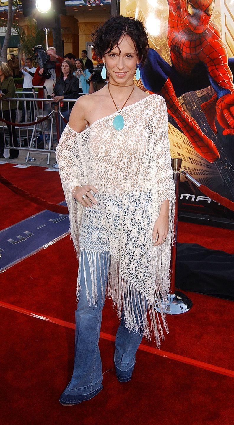 <p>Jennifer served up major bohemian vibes in a macramé poncho, boot-cut jeans, and turquoise jewelry at the premiere of <em>Spider-Man</em> in Los Angeles. </p>