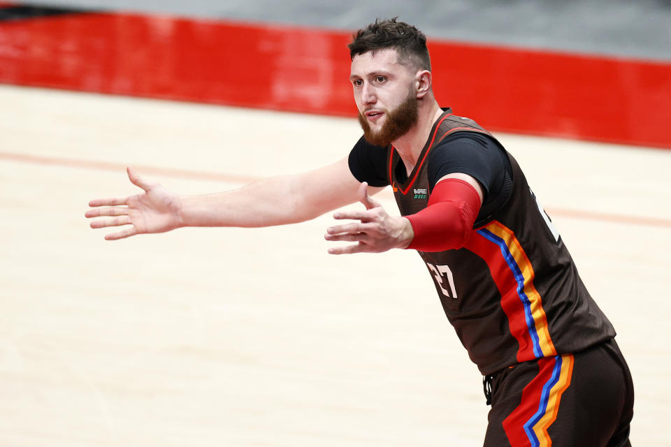Jusuf Nurkic of the Portland Trail Blazers averaged nine rebounds per game this season. (Photo by Steph Chambers/Getty Images)