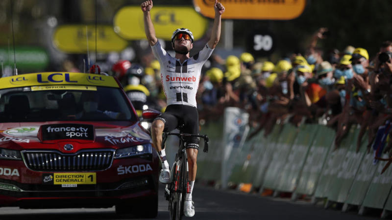 Hirschi powers away to win longest stage of 2020 Tour de France