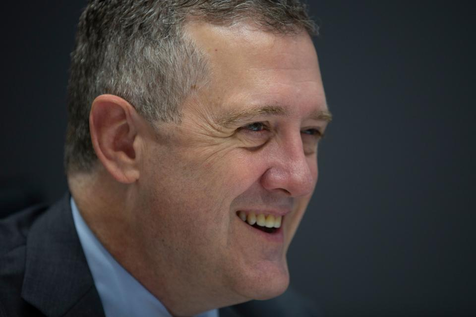 President and CEO of the Federal Reserve Bank of St. Louis James Bullard speaks during an interview with AFP in Washington, DC, on August 6, 2019. - The Federal Reserve has set US interest rates