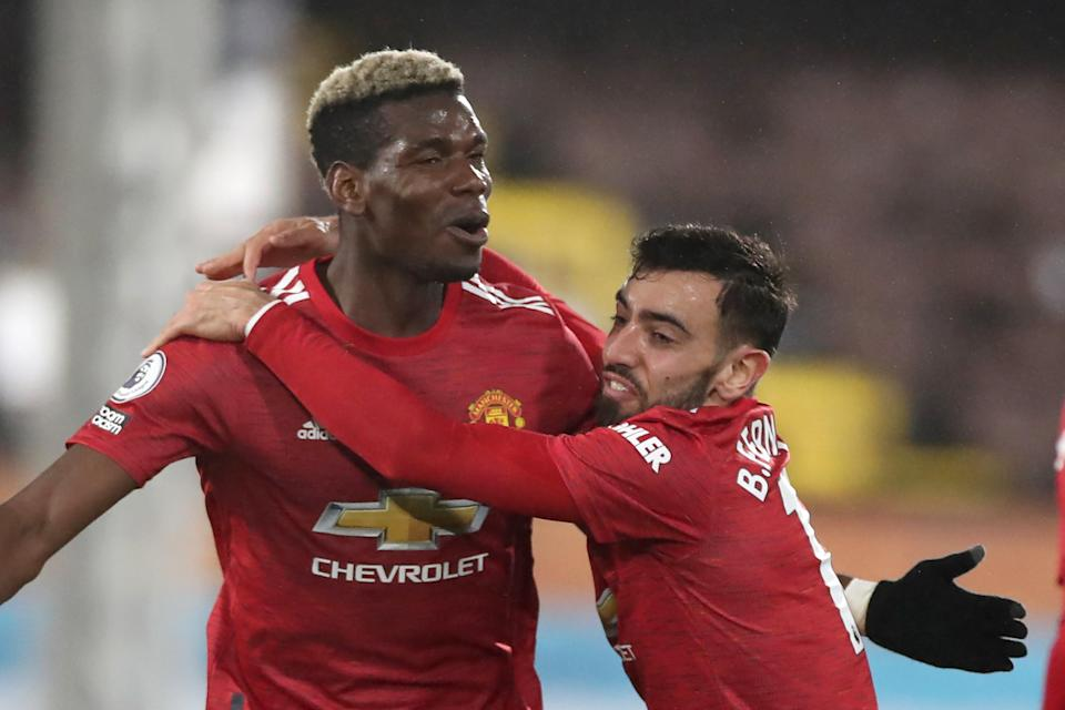 <p>Pogba and Fernandes have led United's title charge</p> (POOL/AFP via Getty Images)