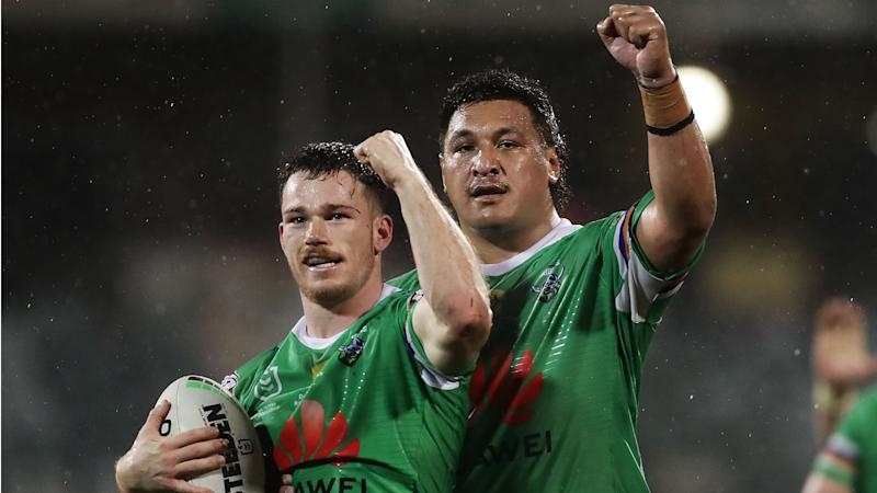 Raiders catch up with Rabbitohs, Sharks sink Dragons