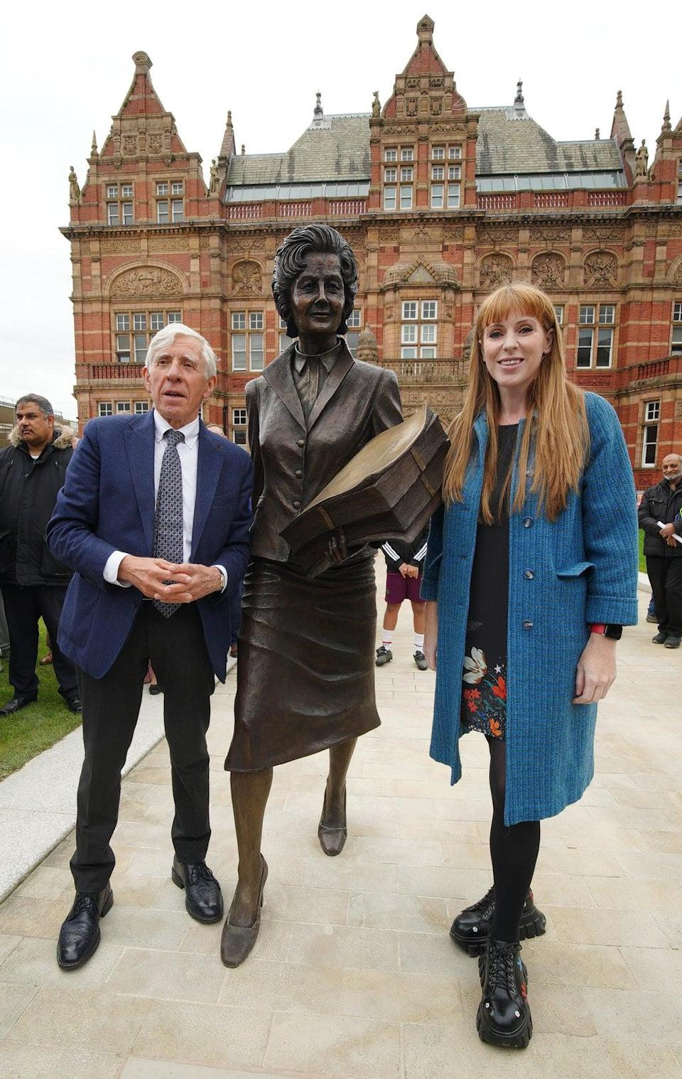 Jack Straw and Labour deputy leader Angela Rayner at the unveiling of a statue of former Blackburn MP Barbara Castle (Peter Byrne/PA) (PA Wire)