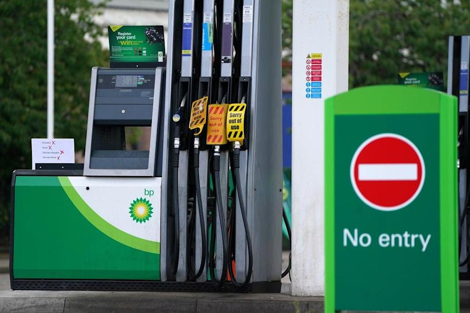 A sign on fuel pumps showing no fuel available at a BP petrol station in Grangemouth (Andrew Milligan/PA) (PA Wire)