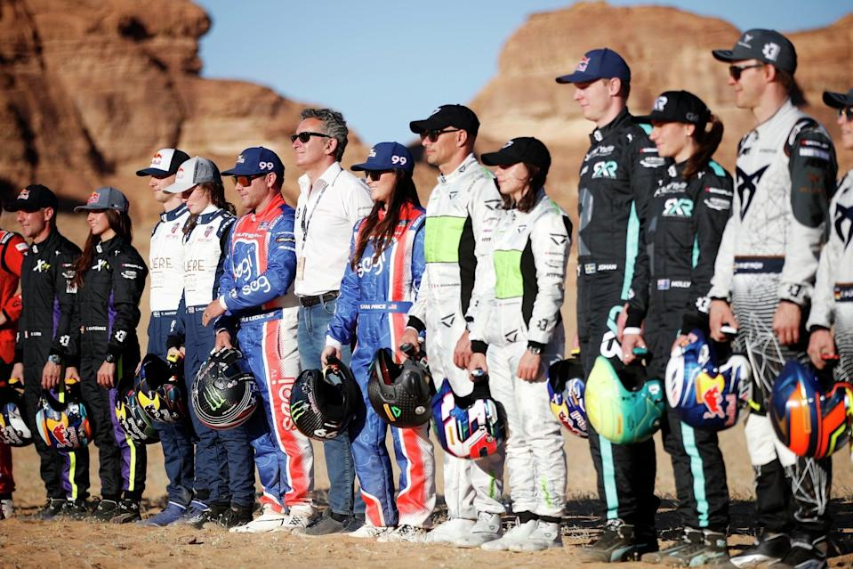 The drivers line up in the Saudi Arabian desert ahead of the first race (Extreme E)