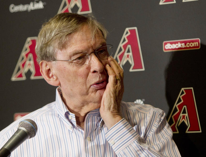 MLB Commissioner Bud Selig speask with reporters at a press conference regarding drug testing in major league baseball during a spring training baseball game at Salt River Fields near Scottsdale, Ariz., Saturday, March 2, 2013. He said he wants tougher penalties for major league players who violate the sport's drug agreement. (AP Photo/The Arizona Republic, Cheryl Evans) MARICOPA COUNTY OUT; MAGS OUT; NO SALES