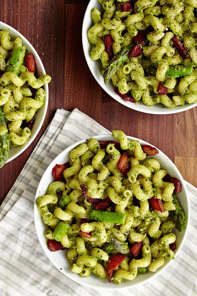 "<p>Say hi to spring with this amazing pesto.</p><p>Get the recipe from <a href=""/cooking/recipe-ideas/recipes/a46629/best-asparagus-pesto-recipe/"" target=""_blank"">Delish</a>.</p>"