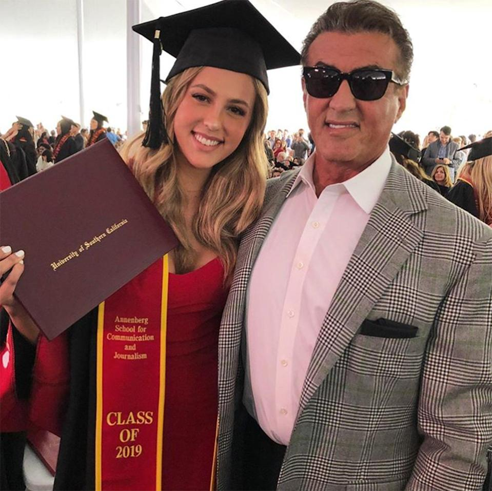 """Sylvester Stallone shared a heartfelt message to his daughter Sophia after she graduated from the University of Southern California. """"Our daughter SOPHIA graduates from USC !!!! An absolutely amazing day for us all. So proud!!!!"""" the actor <a href=""""https://www.instagram.com/p/BxS_8i5poyw/?utm_source=ig_embed"""" rel=""""nofollow noopener"""" target=""""_blank"""" data-ylk=""""slk:wrote"""" class=""""link rapid-noclick-resp"""">wrote</a> alongside photos of himself with his daughter in her graduation cap and gown."""