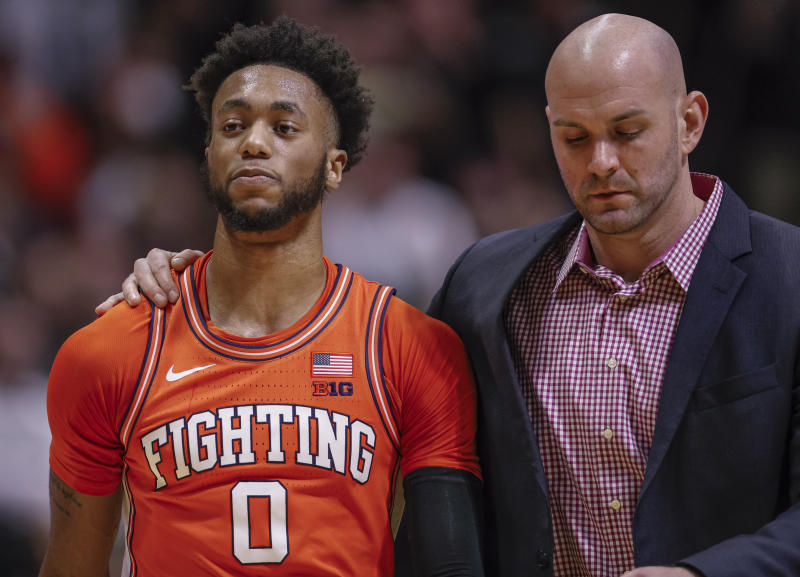 Illinois' Alan Griffin stomped on Purdue's Sasha Stefanovic's chest on Tuesday night after a layup, and was ejected from the game.