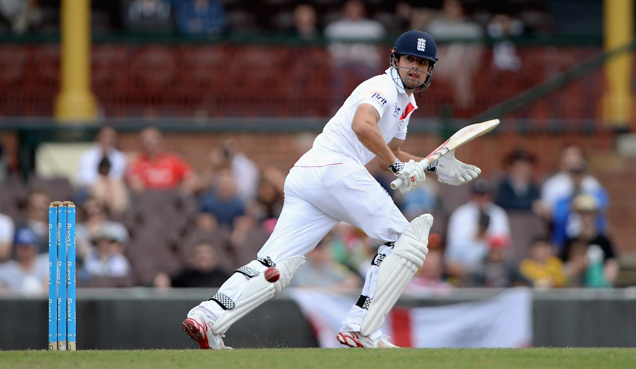 SYDNEY, AUSTRALIA - NOVEMBER 16:  England captain Alastair Cook bats during day four of the tour match between CA Invitational XI and England at the Sydney Cricket Ground on November 16, 2013 in Sydney, Australia.  (Photo by Gareth Copley/Getty Images)