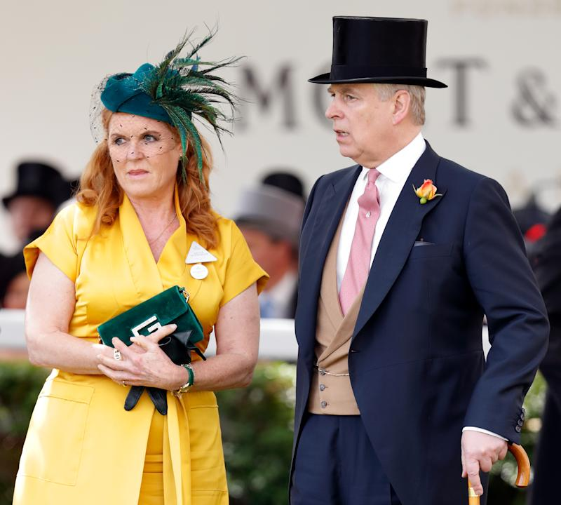 ASCOT, UNITED KINGDOM - JUNE 21: (EMBARGOED FOR PUBLICATION IN UK NEWSPAPERS UNTIL 24 HOURS AFTER CREATE DATE AND TIME) Sarah Ferguson, Duchess of York and Prince Andrew, Duke of York attend day four of Royal Ascot at Ascot Racecourse on June 21, 2019 in Ascot, England. (Photo by Max Mumby/Indigo/Getty Images)