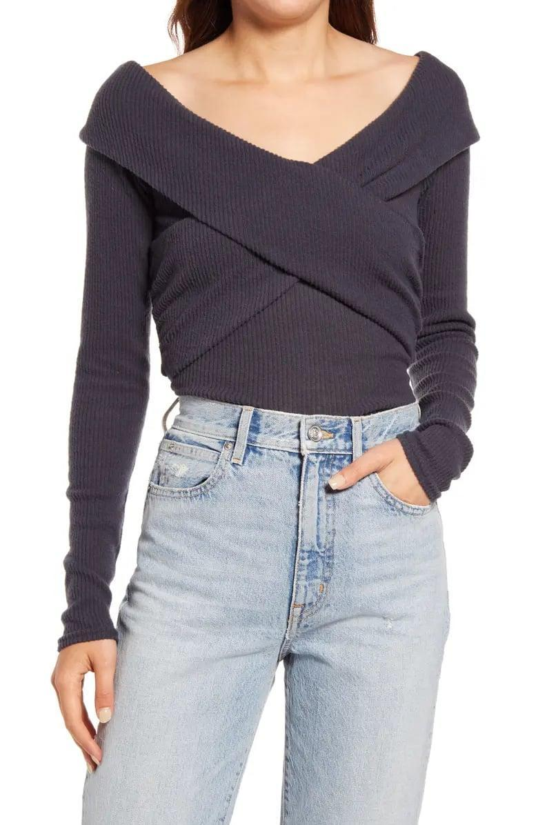 <p>This lightweight <span>Free People Marley Off the Shoulder Rib Top</span> ($51-$68, originally $68) is so pretty with these light-wash jeans, but we also love the oatmeal alternative with darker denim, too.</p>