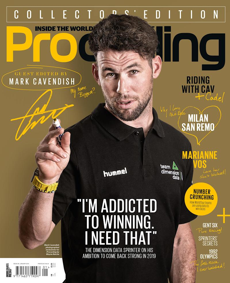 Mark Cavendish on the cover of the January 2019 edition of Procycling
