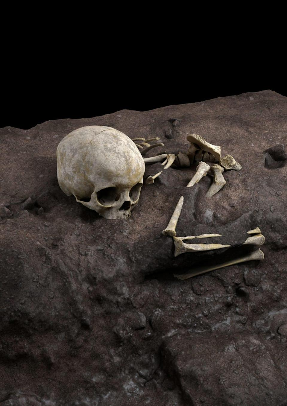 """<div class=""""inline-image__title"""">SCIENCE-BURIAL/</div> <div class=""""inline-image__caption""""><p>The remains of a child roughly age 3 who lived about 78,000 years ago and was found in a burial pit at a cave site in Kenya called Panga ya Saidi, the oldest-known human burial in Africa, are seen in an undated virtual reconstruction.</p></div> <div class=""""inline-image__credit"""">JORGE GONZALEZ/ELENA SANTOS</div>"""
