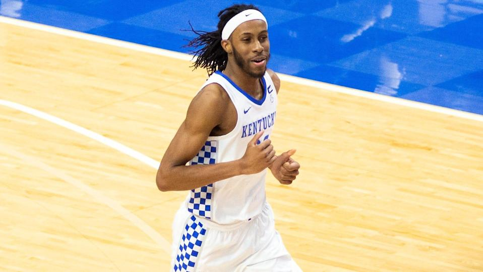 Mar 6, 2021; Lexington, Kentucky, USA; Kentucky Wildcats forward Isaiah Jackson (23) runs down the court during the second half of the game against the South Carolina Gamecocks at Rupp Arena at Central Bank Center. Mandatory Credit: Arden Barnes-USA TODAY Sports ORG XMIT: IMAGN-449387 ORIG FILE ID:  20210306_neb_kt3_147.JPG