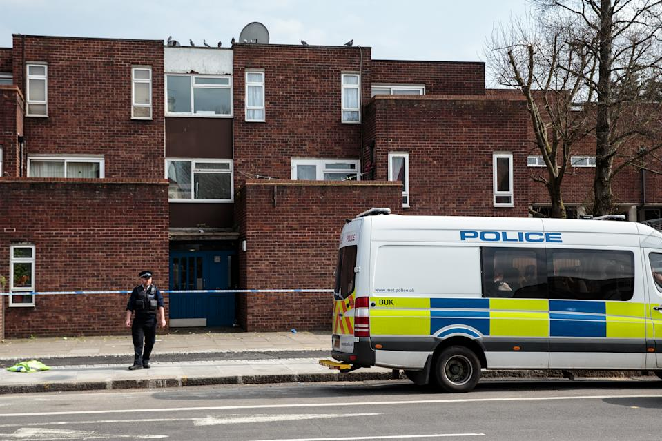LONDON, ENGLAND - MARCH 31: Police on the scene of a stabbing in Edmonton on March 31, 2019 in London, England. Four people have been stabbed in a spate of knife attacks in North London over the weekend. (Photo by Jack Taylor/Getty Images)