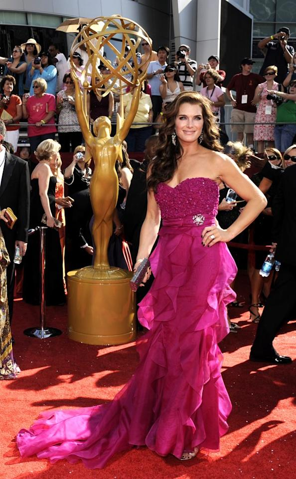 BEST: At her first-ever Emmy Awards in 2008, Brooke Shields impressed in a fuchsia Badgley Mischka Couture organza gown and diamond broach by Fred Leighton. (AP Photo/Chris Pizzello)