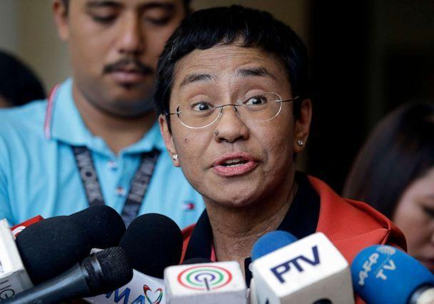FILE PHOTO: Maria Ressa, co-founder of the Philippines-based news website Rappler, talks to reporters after posting bail at the Pasig Regional Trial Court in Metropolitan Manila, Philippines, on March 29, 2019. (Aaron Favila/AP, File)