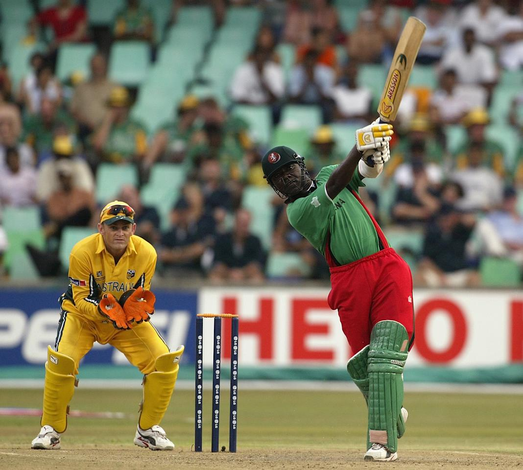 Steve Tikolo of Kenya hits out during the World Cup Super Six One Day International match between Australia and Kenya held on March 15, 2003 played at Kingsmead, Durban, South Africa.  Australia won the match by 5 wickets. (Photo by Hamish Blair/Getty Images)