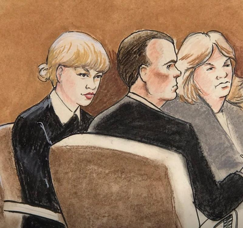 Though Denver's court system somehow managed to assemble a jury who'd maybe never listened to Taylor Swift for her groping trial this past week, the whole world seemed to know that the sketches that emerged from the courtroom bore little to no resemblance to the pop star—other than her preference for Peter Pan collars. Indeed, the real artist behind the sketch was Jeff Kandyba, but some joked that it was likely instead Katheryn Hudson—the birth name of Swift's nemesis, Katy Perry.
