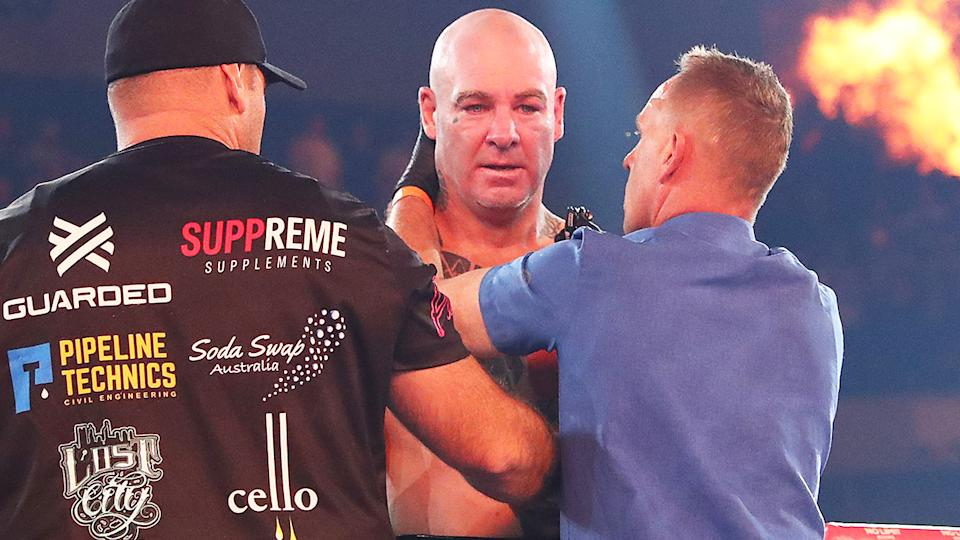 Lucas Browne, pictured here after his loss to Paul Gallen.