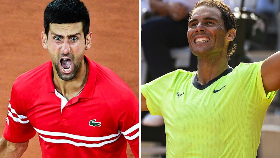 Novak Djokovic and Rafael Nadal are set to face off in the semi-finals of the French Open. Pictures: Getty Images